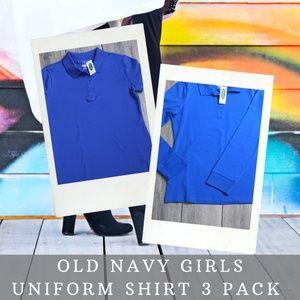 Old Navy Girls Blue Uniform Polo 3 Pack Bundle